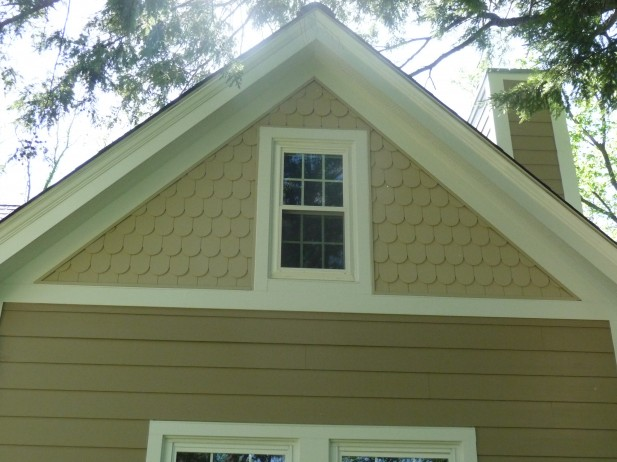 Fish Scale Shingles James Hardie Khaki Brown Siding Arctic White Trim Webster Groves Mo