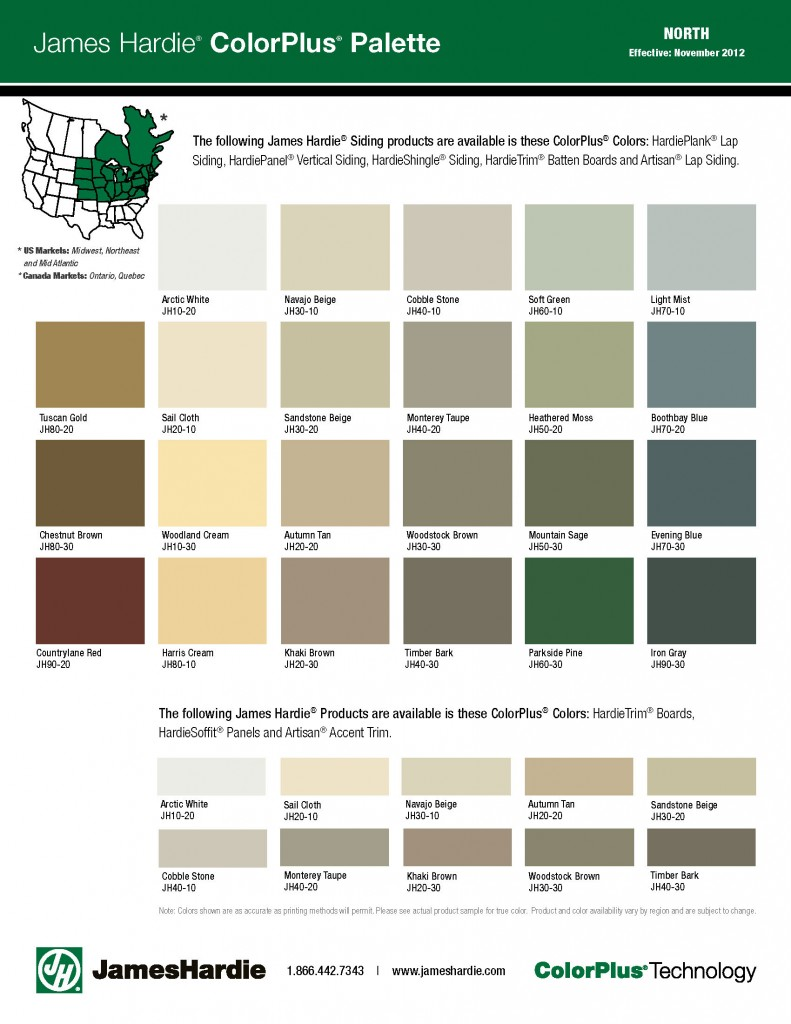 James Hardie Siding ColorPlus - Color Options - Midwest