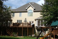 Siding, soffit, fascia and gutter install. Autumn Tan Siding, Cobblestone Trim, Chesterfield MO